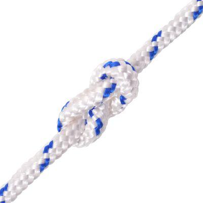 vidaXL pietauvošanās virve, 10 mm, 50 m, polipropilēns, balta