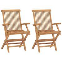 vidaXL saliekami dārza krēsli, 2 gab., masīvs tīkkoks
