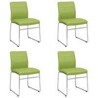 vidaXL virtuves krēsli, 4 gab., zaļa mākslīgā āda