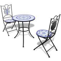 vidaXL 3-daļīgs bistro mēbeļu komplekts, keramikas flīzes, zils, balts