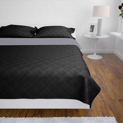Divpusējs gultas pārklājs 230 x 260 cm, stepēts, melns / pelēks