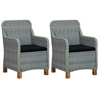 vidaXL dārza krēsli ar matračiem, 2 gab., gaiši pelēka PE rotangpalma