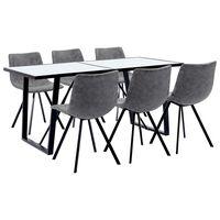 vidaXL virtuves galds un 6 krēsli, pelēka mākslīgā āda