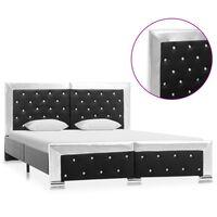 vidaXL gultas rāmis, melna mākslīgā āda, 140x200 cm