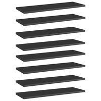 vidaXL plauktu dēļi, 8 gab., spīdīgi melni, 60x20x1,5cm, skaidu plātne
