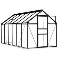 vidaXL siltumnīca ar pamatnes rāmi, pelēks alumīnijs, 7,03 m²