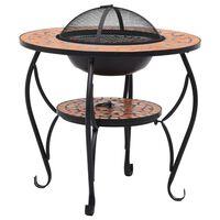 vidaXL ugunskura vietas galds, mozaīka, 68 cm, sarkanbrūns, keramika