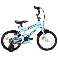 vidaXL bērnu velosipēds, 14 collas, melns ar zilu