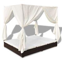 vidaXL dārza atpūtas gulta ar aizkariem, brūna PE rotangpalma
