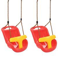 vidaXL bērnu šūpoles ar drošības jostu, 2 gab., PP, sarkanas