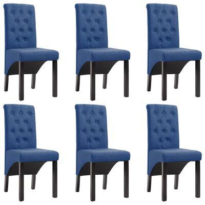vidaXL virtuves krēsli, 6 gab., zils audums