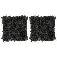 vidaXL spilveni 2 gab., melni, 45x45 cm, ādas strēmeles un kokvilna