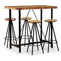 vidaXL bāra galds un krēsli, 5 gab., pārstrādāts masīvkoks