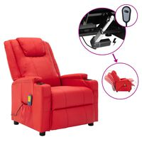 vidaXL elektrisks masāžas krēsls, atgāžams, sarkana mākslīgā āda