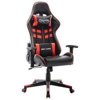 vidaXL datorspēļu krēsls, melna un sarkana mākslīgā āda