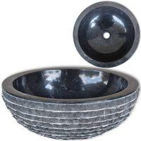 vidaXL izlietne, 40 cm, melns marmors