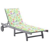 vidaXL dārza sauļošanās zvilnis ar matraci, pelēks, akācijas masīvkoks