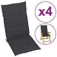 vidaXL dārza krēslu spilveni, 4 gab., antracītpelēki, 120x50x4 cm