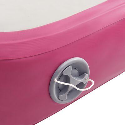 vidaXL piepūšams vingrošanas paklājs ar pumpi, 200x200x10 cm, rozā PVC
