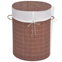 vidaXL veļas grozs, ovāla forma, brūns bambuss
