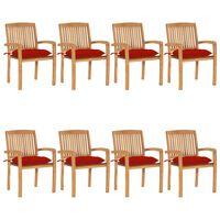 vidaXL dārza krēsli ar matračiem, 8 gab., masīvs tīkkoks
