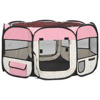 vidaXL saliekama suņu sētiņa, ar somu, rozā, 125x125x61 cm