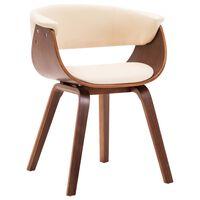 vidaXL virtuves krēsls, izliekts koks un mākslīgā āda, krēmkrāsas