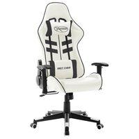 vidaXL datorspēļu krēsls, melna un balta mākslīgā āda