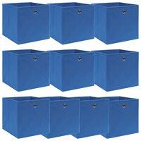 vidaXL uzglabāšanas kastes, 10 gab., zilas, 32x32x32 cm