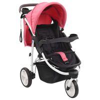 vidaXL trīsriteņu bērnu ratiņi, rozā ar melnu