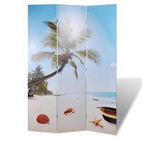 vidaXL istabas aizslietnis, 120x170 cm, saliekams, pludmales ainava