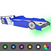 vidaXL bērnu gulta ar LED, sacīkšu mašīnas dizains, 90x200 cm, zila