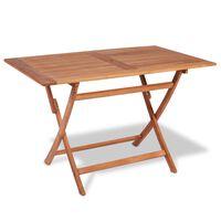 vidaXL saliekams dārza galds, 120x70x75 cm, masīvs tīkkoks