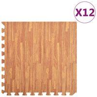 vidaXL grīdas paklājiņi, 12 gab., 4,32 ㎡, EVA putas, koka tekstūra