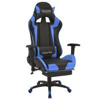 vidaXL atgāžams biroja krēsls ar kāju balstu, zils ar melnu
