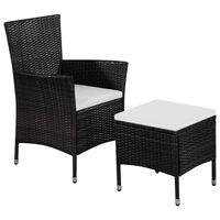 vidaXL dārza krēsls ar kājsoliņu un matračiem, PE rotangpalma, melns