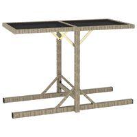 vidaXL dārza galds, bēšs, 110x53x72 cm, stikls un polietilēna