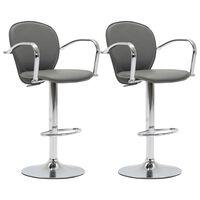 vidaXL bāra krēsli ar roku balstiem, 2 gab., pelēka mākslīgā āda