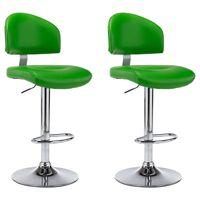 vidaXL bāra krēsli, 2 gab., zaļa mākslīgā āda
