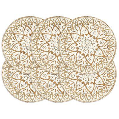 vidaXL galda paliktņi, 6 gab., 38 cm, apaļi, balta džuta