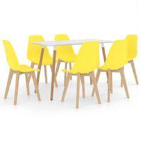 vidaXL 7-daļīgs virtuves mēbeļu komplekts, dzeltens