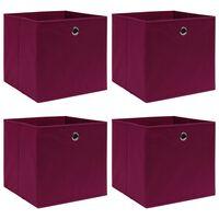 vidaXL uzglabāšanas kastes, 4 gab., 32x32x32 cm, tumši sarkans audums