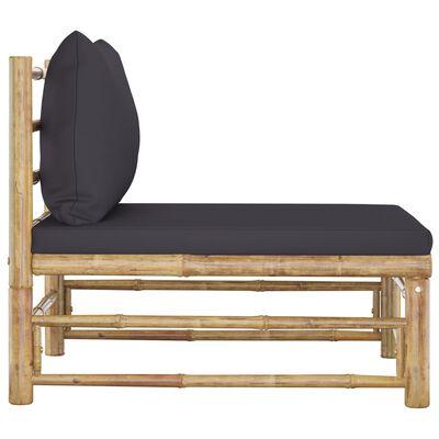 vidaXL dārza vidējais dīvāns ar tumši pelēkiem matračiem, bambuss