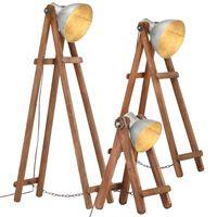 vidaXL grīdas lampas, 3 gab., mango masīvkoks, E27, sudraba krāsā