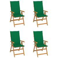 vidaXL dārza krēsli, zaļi matrači, 4 gab., masīvs tīkkoks