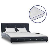 vidaXL gulta, atmiņas efekta matracis, melna, 140x200 cm, mākslīgā āda