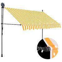 vidaXL izvelkama markīze ar LED, manuāla, 300 cm, balta un oranža