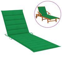 vidaXL sauļošanās krēsla matracis, 200x70x4 cm, zaļš audums