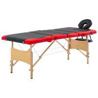 vidaXL saliekams masāžas galds, 4 daļas, koks, melns ar sarkanu