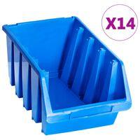 vidaXL uzglabāšanas nodalījumi, 14 gab., zila plastmasa